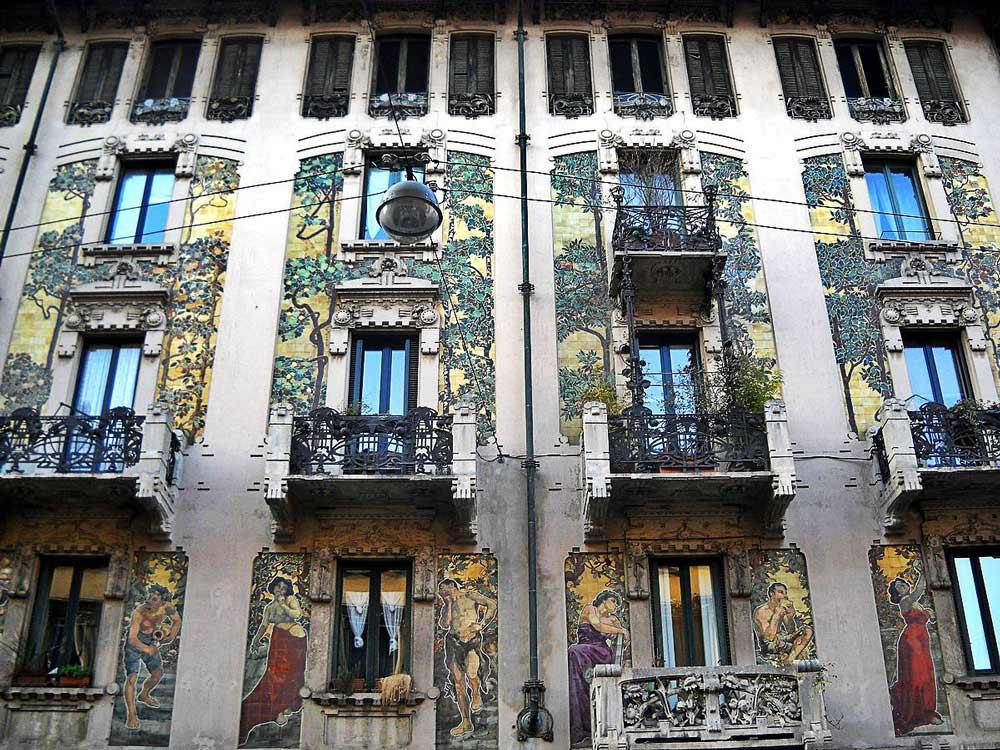 Квартал Либерти в Милане фасад здания
