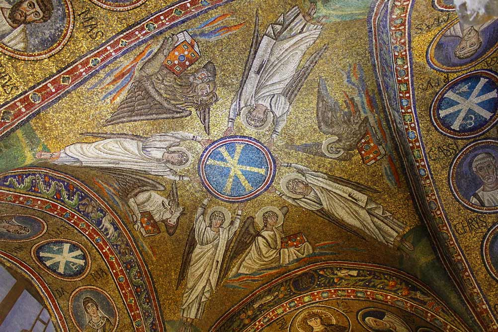 свод Архиепископской капеллы Святого Андрея в Равенне мозаики