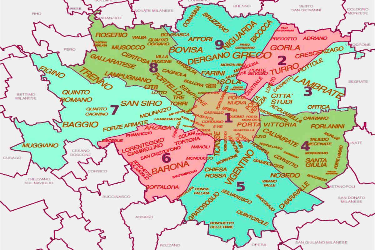 районы милана, карта районов района