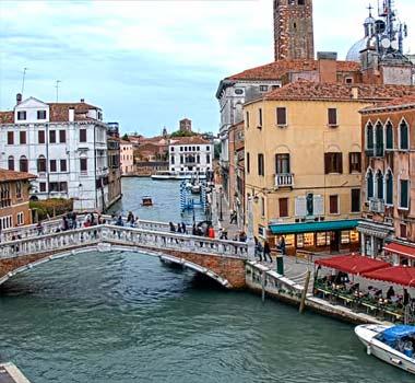 Мост Шпилей и Канал Каннареджо, Венеция: онлайн камера
